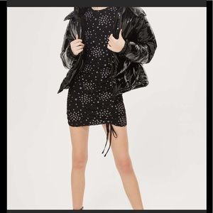 TOPSHOP Star Ruched Lace Black Dress 8